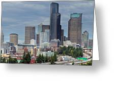 Seattle City Skyline At Rush Hour Greeting Card