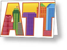 Seattle City Skyline Text Outline Color Illustration Greeting Card