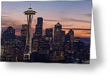 Seattle Cityscape Morning Light Greeting Card