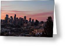 Seattle Cityscape Sunrise Greeting Card