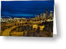 Seattle Downtown Skyline And Freeway At Twilight Greeting Card