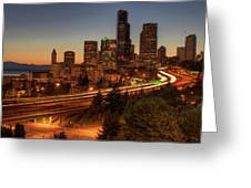 Seattle Downtown Skyline At Dusk Greeting Card