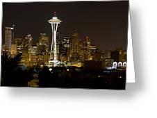 Seattle Downtown Skyline Evening Panorama Greeting Card