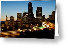 Seattle Downtown Skyline Evening View Greeting Card