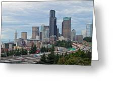 Seattle Downtown Skyline On A Cloudy Day Greeting Card