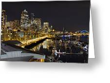 Seattle Downtown Skyline Waterfront Marina Greeting Card