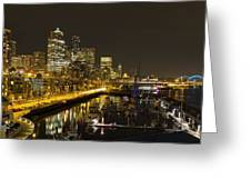 Seattle Downtown Waterfront Skyline At Night Reflection Greeting Card