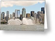 Seattle Downtown With Fireboat Greeting Card