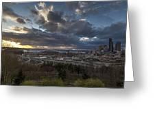 Seattle Dramatic Dusk Greeting Card