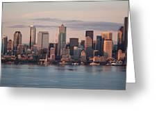 Seattle Dusk Skyline Greeting Card