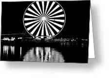 Seattle Great Wheel Black And White Greeting Card