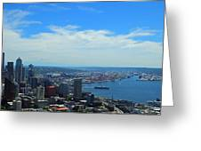 Seattle Harbor And Mt Rainier From Space Needle Greeting Card