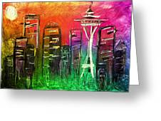 Seattle Land Of Color Greeting Card by Melisa Meyers