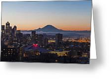 Seattle Morning Glow Greeting Card