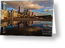 Seattle Pier Sunset Clouds Greeting Card