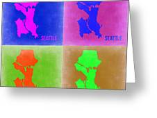 Seattle Pop Art Map 2 Greeting Card