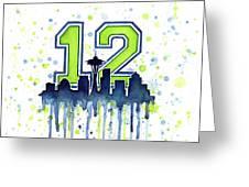 Seattle Seahawks 12th Man Art Greeting Card by Olga Shvartsur
