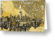 Seattle Skyline Abstract 2 Greeting Card