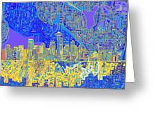 Seattle Skyline Abstract 6 Greeting Card