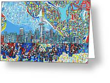 Seattle Skyline Abstract 7 Greeting Card