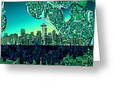 Seattle Skyline Abstract Greeting Card