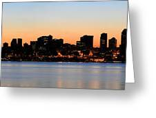 Seattle Skyline And Puget Sound At Sunrise Greeting Card