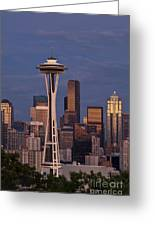 Seattle Skyline And Space Needle With City Lights Greeting Card