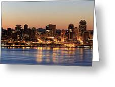 Seattle Skyline At Dawn Along Puget Sound Greeting Card