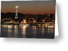 Seattle Skyline At Night By The Pier Panorama Greeting Card