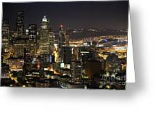 Seattle Skyline At Night Greeting Card