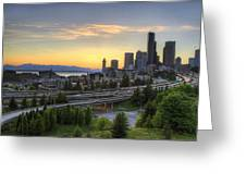 Seattle Skyline At Sunset Greeting Card