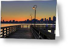 Seattle Skyline From The Pier At Sunrise Greeting Card