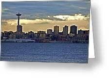 Seattle Skyline In Twilight Greeting Card
