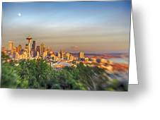 Seattle Skyline Lens Baby Hdr Greeting Card