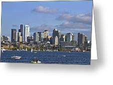 Seattle Skyline On Lake Union Greeting Card