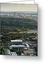Seattle Skyline With Aerial View Of The Newly Renovated Husky St Greeting Card