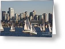 Seattle Skyline With Sailboats Greeting Card