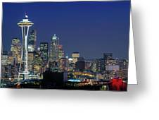 Seattle Skyline With Space Needle Greeting Card
