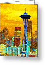 Seattle Space Needle 20130115v2 Greeting Card by Wingsdomain Art and Photography
