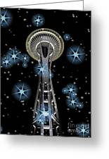 Seattle Space Needle Blue Stars Greeting Card