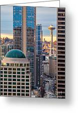 Seattle Space Needle Golden Sunset Light Greeting Card