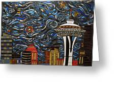 Seattle Starry Night Greeting Card
