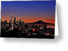 Seattle Sunrise Panorama Greeting Card