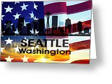 Seattle Wa Patriotic Large Cityscape Greeting Card