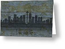 Seattle Washington City Skyline Silhouette Distressed On Worn Peeling Wood Greeting Card