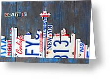 Seattle Washington Space Needle Skyline License Plate Art By Design Turnpike Greeting Card
