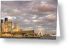 Seattle Waterfront Bathed In Golden Hour - Seattle Skyline - Puget Sound Washington State Greeting Card