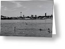 Seattle Waterfront Bw 2 Greeting Card
