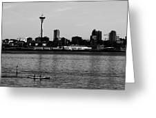 Seattle Waterfront Bw Greeting Card