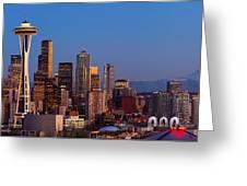 Seattle Winter Evening Panorama Greeting Card